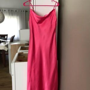 ZARA BRIGHT PINK SILK DRESS